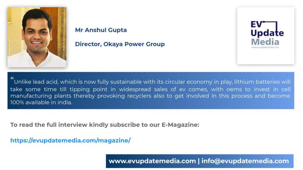 Mr. Anshul Gupta-Director, Okaya Power Group